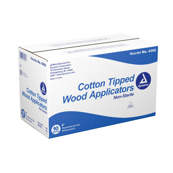 Dynarex Regular Tip Cotton Swab, 6 in. Wood Shaft, 4302, 10000/case by Harmony Lab & Safety Supplies