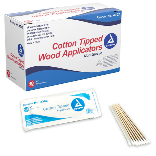 Dynarex Regular Tip Cotton Swab, 6 in. Wood Shaft, 4302, by Harmony Lab & Safety Supplies