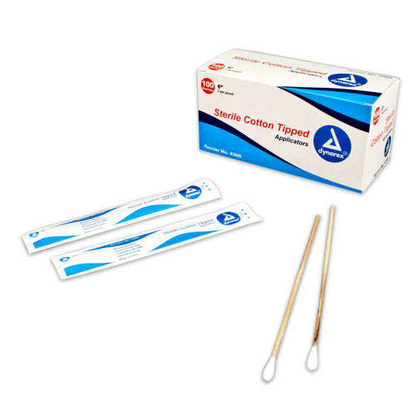 "Dynarex 4305 Sterile Cotton Tipped Wood Applicator Swab, 6"", Wood shaft, 200/box at Harmony Lab & Safety Supplies"