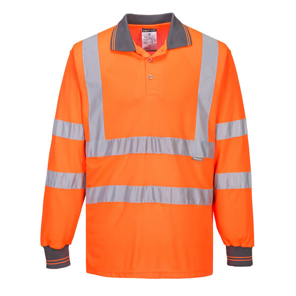 Get Portwest Class 3 Hi-Vis Polo Shirt, Long Sleeves w/Knit Cuffs (S277-ORR) at Harmony Lab & Safety Supplies