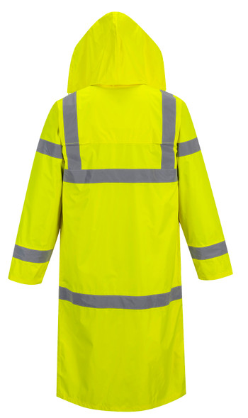 Portwest UH445 Class 3 Yellow Hi-Vis Rain Coat by Harmony Lab & Safety Supplies (back view)