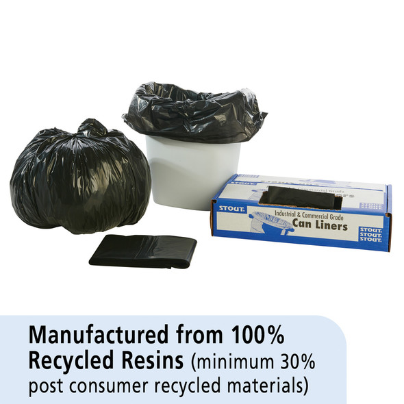 Stoute Recycled Content Black Low Density Trash Can Liners, 24 x 24 in., 6-10 gal, 1 mil, 250/case (STOT2424B10)  | Harmony Lab and Safety Supplies