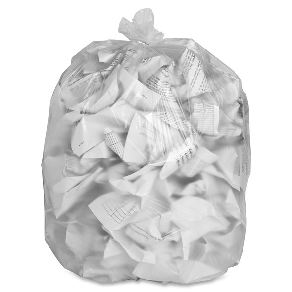 Clear High Density Trash Can Liners, 38 x 60 in., 55-60 gal., 17 micron, 200/case (GJO01759) | Harmony Lab and Safety Supplies