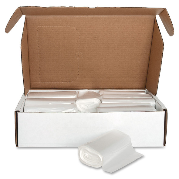 Genuine Joe 01759 Clear High Density Trash Can Liners, 38 x 60 in., 55-60 gal., 17 micron, 200/case | Harmony Lab and Safety Supplies