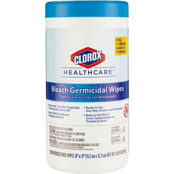 Clorox Healthcare Bleach Germicidal Wipes, 6 x 5 in., 150/Tub, 6/case (L30577) | Harmony Lab and Safety Supplies