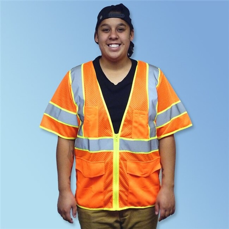 Get HivizGard Class 3 Mesh Safety Vest with Sleeves, Orange 1 LBC16014F at Harmony