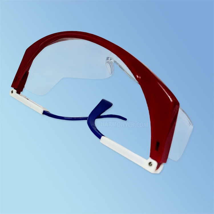 iNOX Guardian 1712 Safety Glasses, Clear Lens, Red/White/Blue Frame