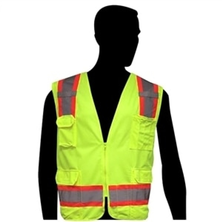 Get HivizGard Class 2 Solid Front/Mesh Back Surveyors Vest, Lime Green LBC16012G at Harmony