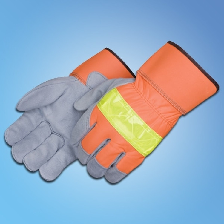 Get Premium Leather Palm Gloves with 3M Reflective Fabric, 12 pair LIB3231 at Harmony