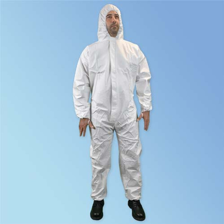 KeyGuard Microporous Cleanroom Coveralls with Attached Hood, Elastic Wrists/Ankles, and Sleeve Thumb Loops, White Safe for ISO 5 (Class 100) Cleanrooms! T185-CE at Harmony