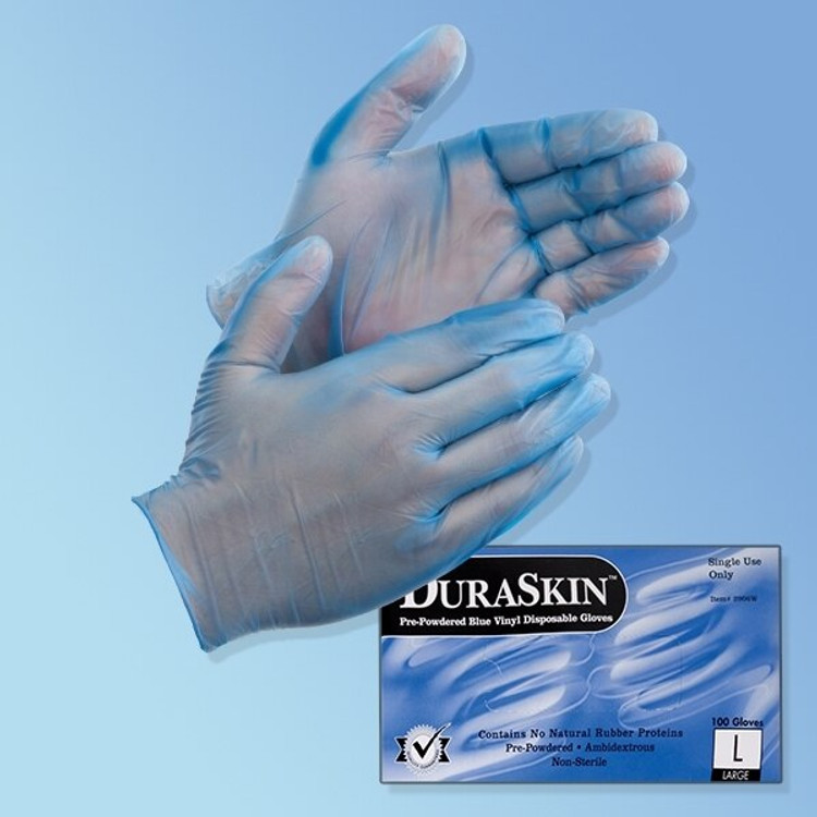 Get DuraSkin 5 mil Blue Vinyl Food Service/General Purpose Gloves, Powder Free, 1,000/cs LIB2916W at Harmony