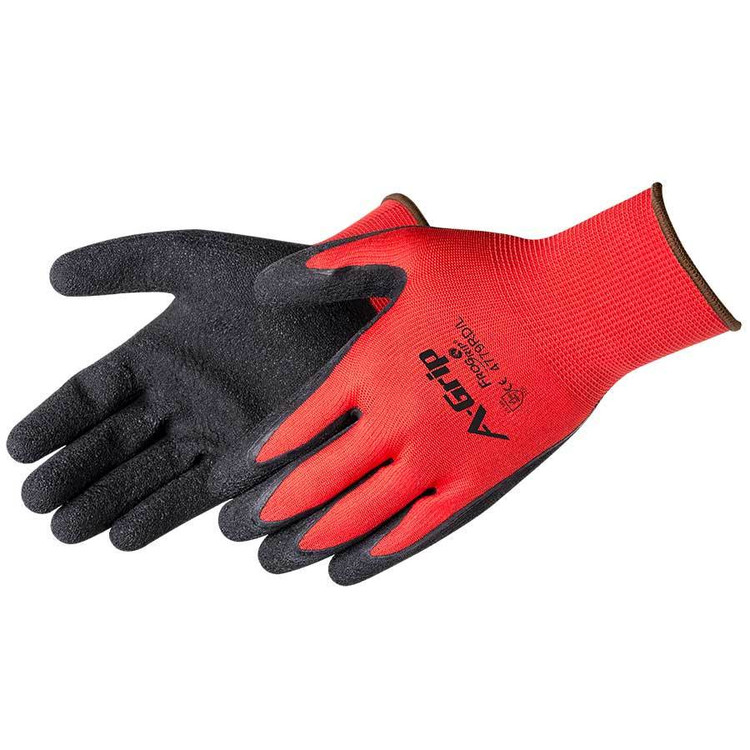 A-Grip Textured Latex Coated Glove, Red/Black, 12/pair