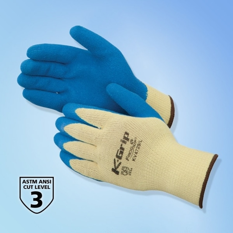 Get K-Grip Textured Latex Coated Kevlar Glove, Blue/Yellow, 12 pairs LIBKV4729 at Harmony