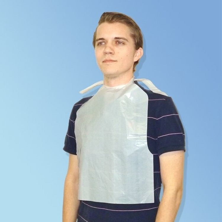 Get Waterproof Plastic Disposable Bibs w/ Ties, 500/cs NON24267A at Harmony