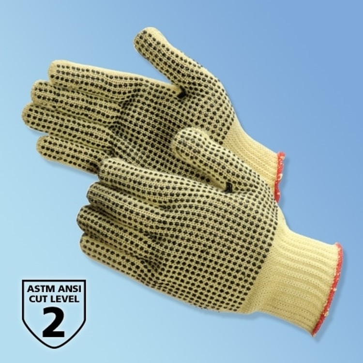 Get 100% Kevlar String Knit Gloves with Two-Sided PVC Dots, 12 pair LB4815KC at Harmony