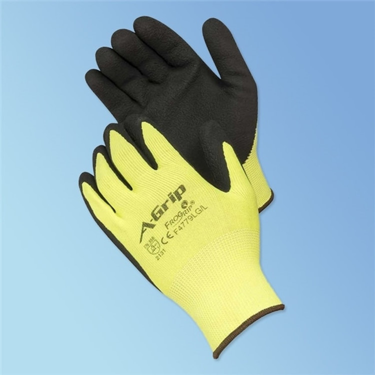 Get A-Grip Foam Latex Coated Glove, High Visibility Green/Black, 12/pair LBF4779LG at Harmony