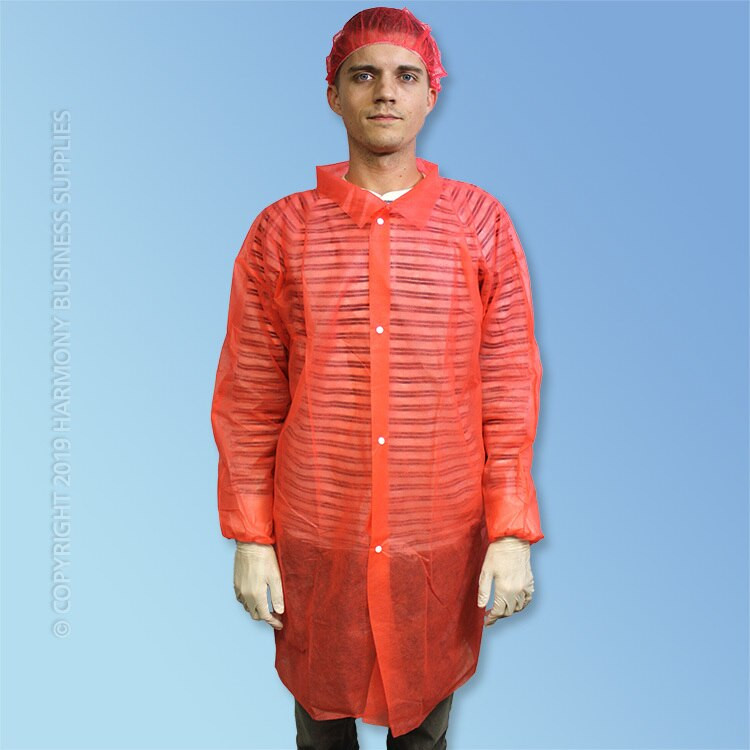 front view PolyGard (15300R) Red Polypropylene Frocks without pockets