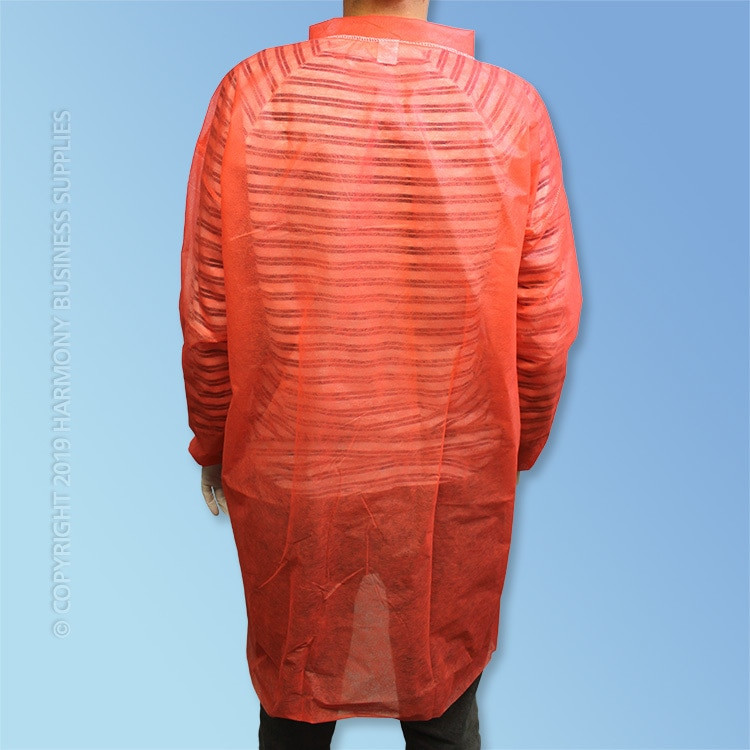 rear view PolyGard (15300R) Red Polypropylene Frocks without pockets