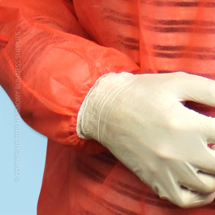 wrist detail PolyGard (15300R) Red Polypropylene Frocks without pockets