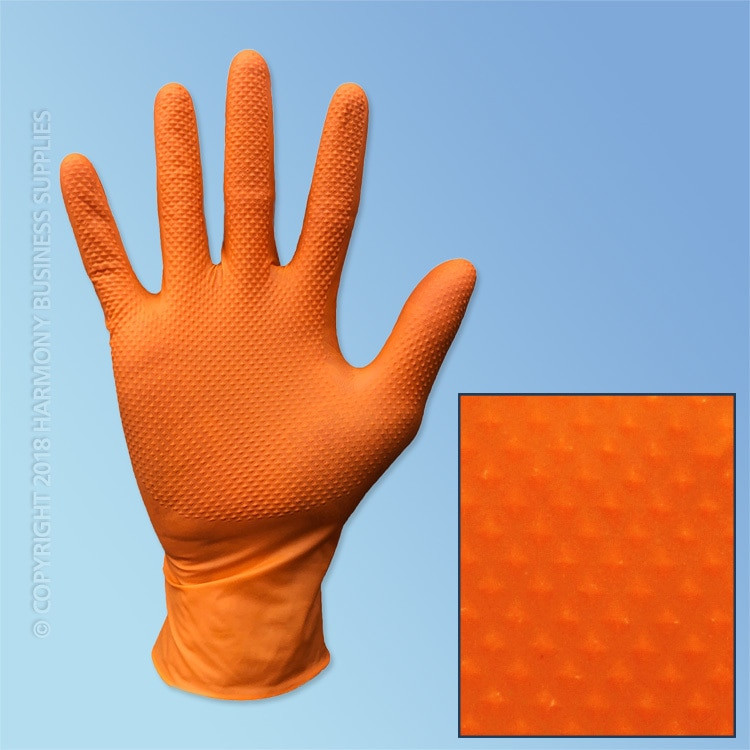 Grabber Orange Nitrile Heavy Duty Gloves, Diamond Grip, 6 mil, Powder Free