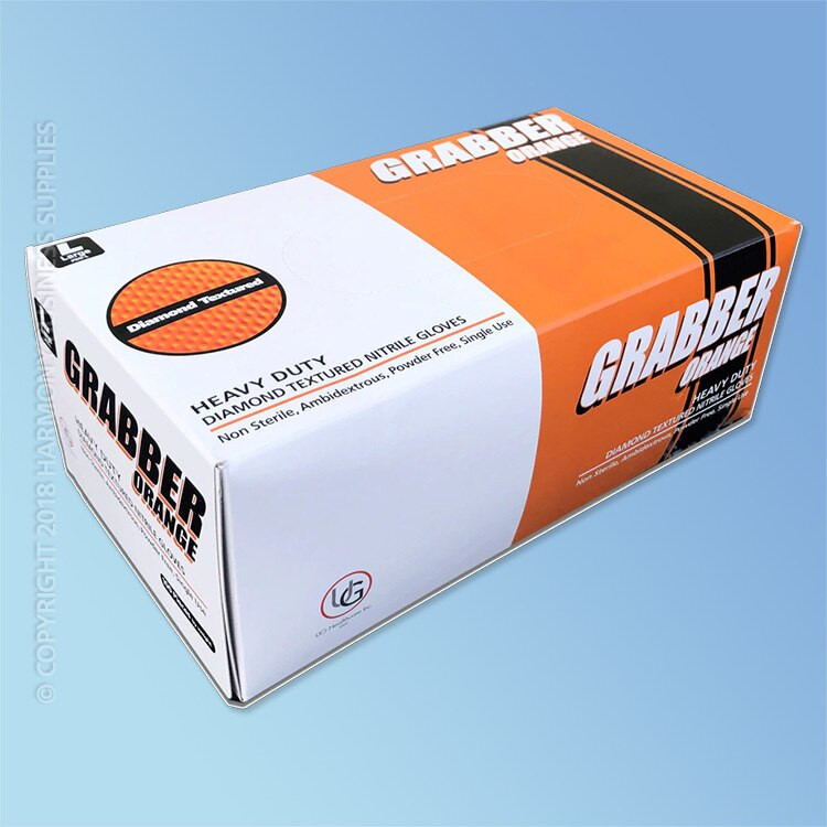 Grabber Orange Nitrile General Purpose Gloves, Diamond Grip, 6 mil, Powder Free