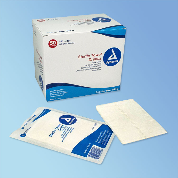 """Get Disposable Sterile Towel Drapes, 18"""" x 26"""" Dynarex 4410 at Harmony"""