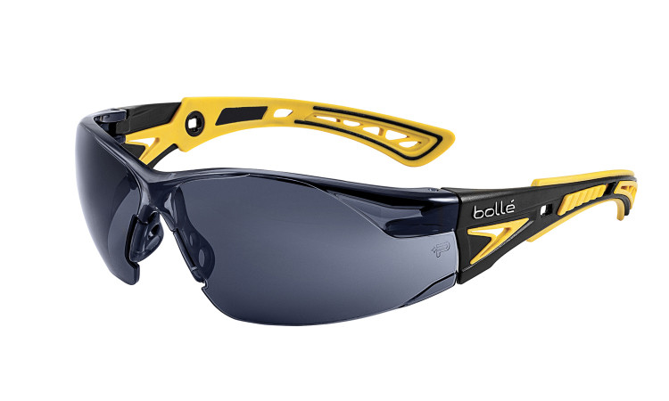 Get Bolle Safety Rush+ Small Safety Glasses, Yellow/Black Temples, Smoke Anti-Scratch Anti-Fog Lens (40253) at Harmony