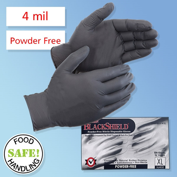 Hypoallergenic hand protection Safe for Food Contact. DuraSkin BlackShield Food Safe and Industrial Use Powder-Free Black Nitrile Disposable Gloves, 4 mil thick (LIB2015W) 100 gloves per box at Harmony Lab and Safety Supplies