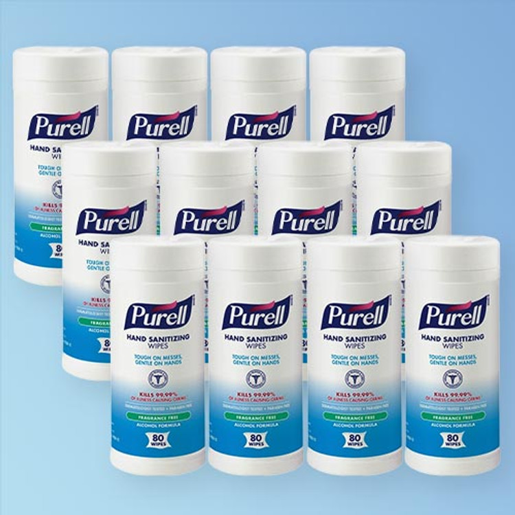 Purell Hand Sanitizing Wipes Alcohol Formula, 6 x 7 in., 80 wipe canister, 12 canister case 9030-12 | Harmony Lab and Safety Supplies