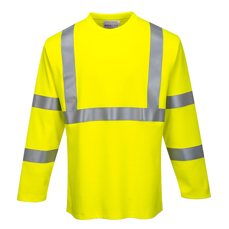 Portwest FR96 CAT 2 Arc Rated Flame Resistant Hi-Vis Long Sleeve T-Shirt, Yellow by Harmony Lab & Safety Supplies (Front view)
