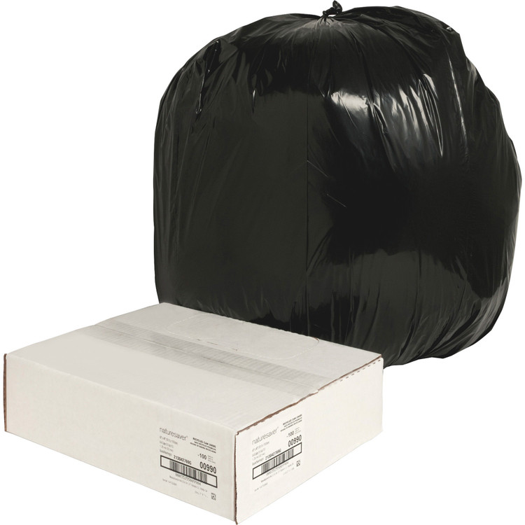 Black Low Density Trash Can Liners, 40 x 46 in., 40 gal, 1.25 mil, 100/case (NAT00990) | Harmony Lab and Safety Supplies