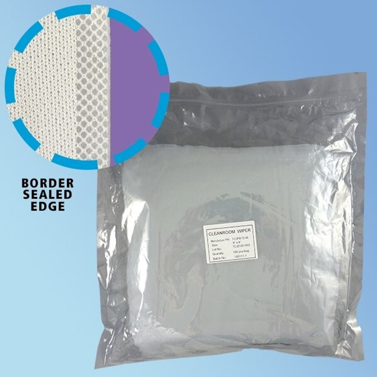 """TekniSat 70% IPA ESD Safe Ultrasonic Border Sealed Polyester Knit Cleanroom Wipes in 9"""" and 12"""" sizes (TS3PBI70S) 