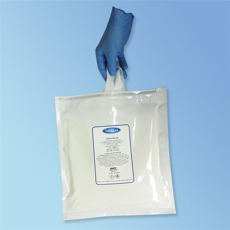 TekniPure TekniSat  Presaturated 70% Isopropyl Alcohol Microdenier Cleanroom Wipe TS2PMDUI70Z-99 in easy-seal zipper pouch for ISO Class 4-5 (Class 10-100) controlled environments | Harmony Lab and Safety Supplies