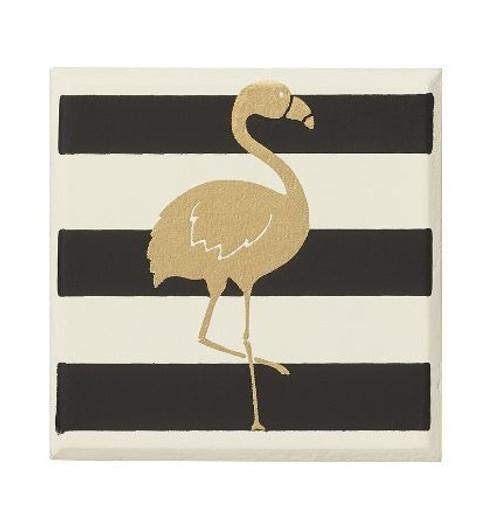 Striped Flamingo Square Magnet