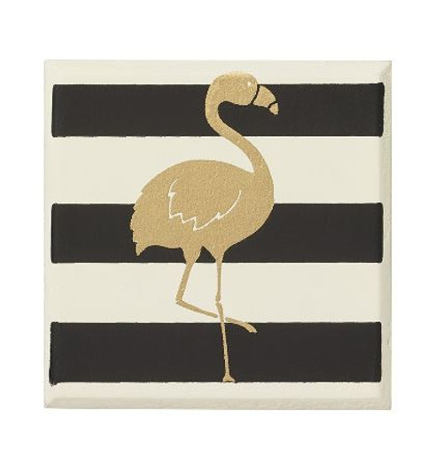 Striped Flamingo Square Magnet