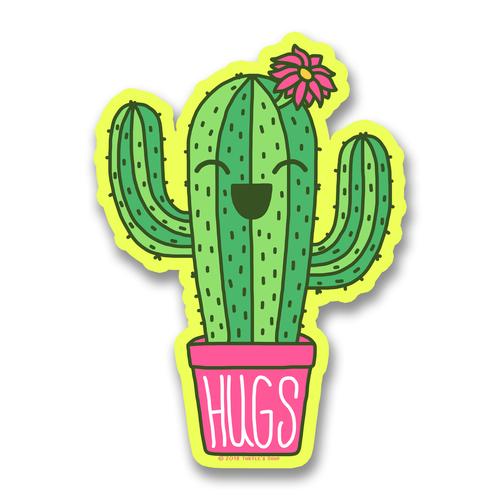 Hugs Potted Cacti Vinyl Sticker