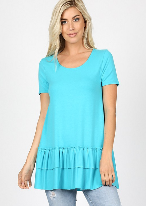 You've Got Me Ruffled Top In Ice Blue