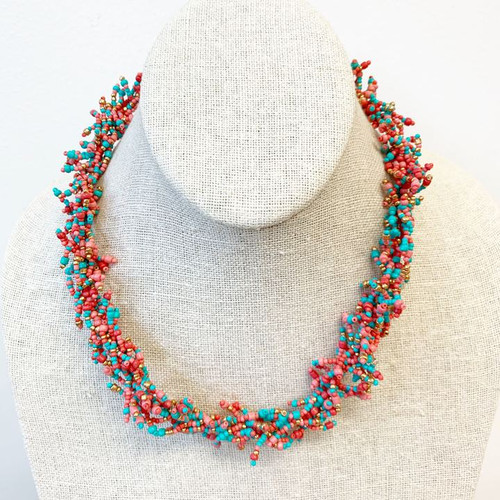 Cluster Seed Bead Statement Necklace