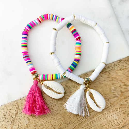 Puka Shell Tassel Bracelet in Pink