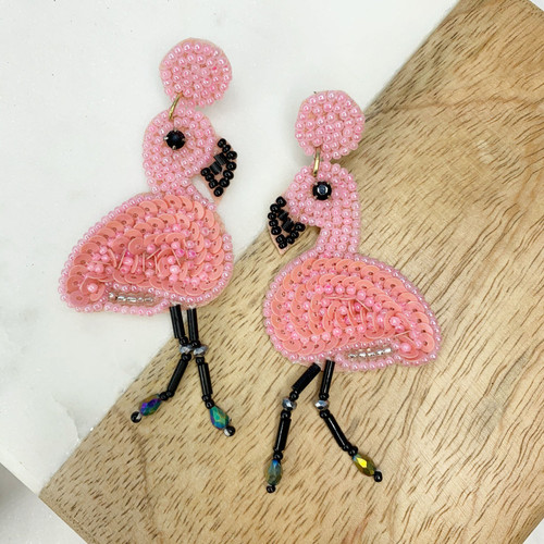 Light Pink Beaded Flamingo Earrings