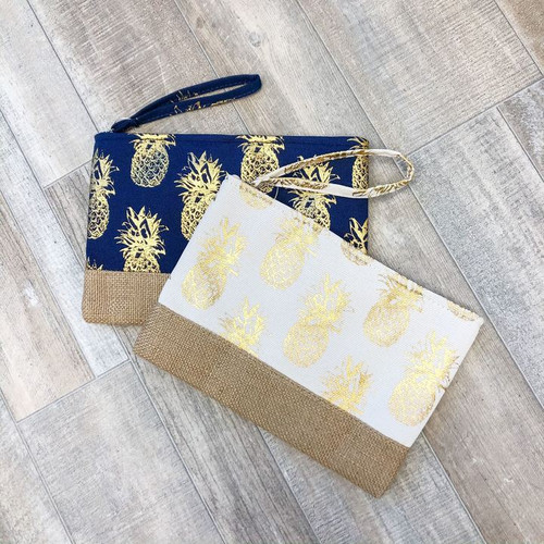 Going Gold Pineapple Wristlet