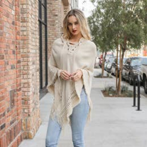 All the Details Poncho In Oatmeal