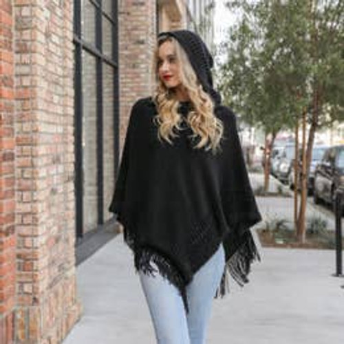 All the Details Poncho In Black