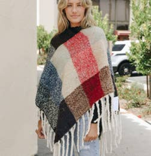 Looking For Fun Colorblock Poncho In Red