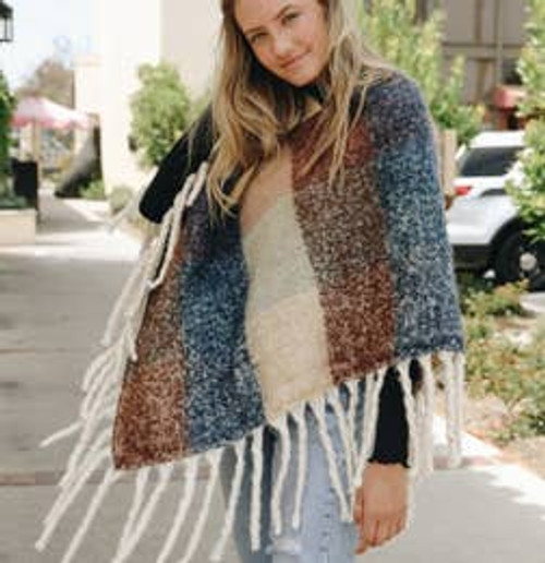 Looking For Fun Colorblock Poncho In Peach/Blue