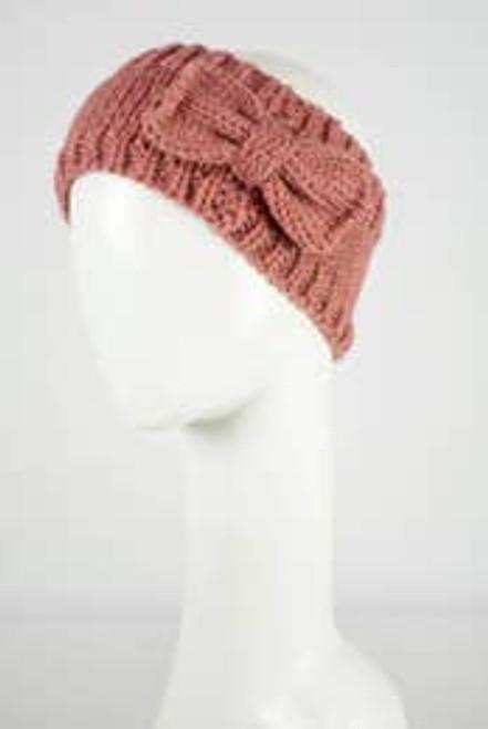 Beautiful Bow Knit Headband In Rose