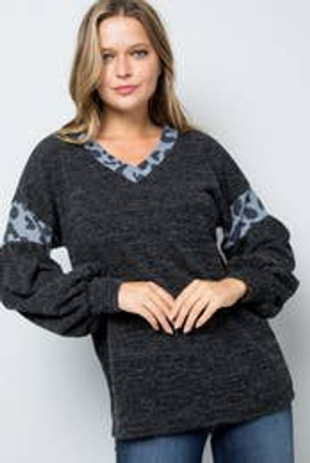 Leopard Print Balloon Sleeve Sweater
