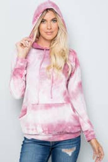Totally Tie Dye Hoodie In Blush