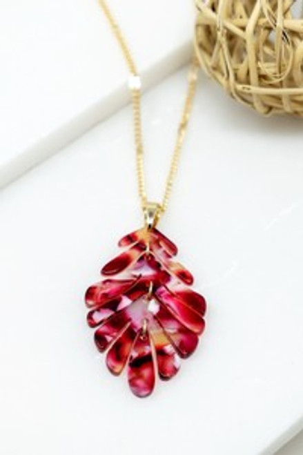 Palm Perfection Leaf Necklace Gold/Red