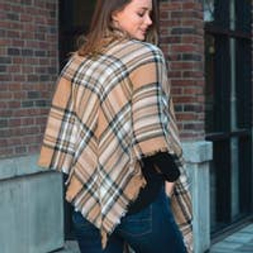 Fancy Flannel Poncho with Toggle Closure in Khaki